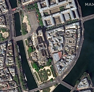 Notre Dame Cathedral is seen after a massive fire in this satellite image in Paris, France on April 17, 2019