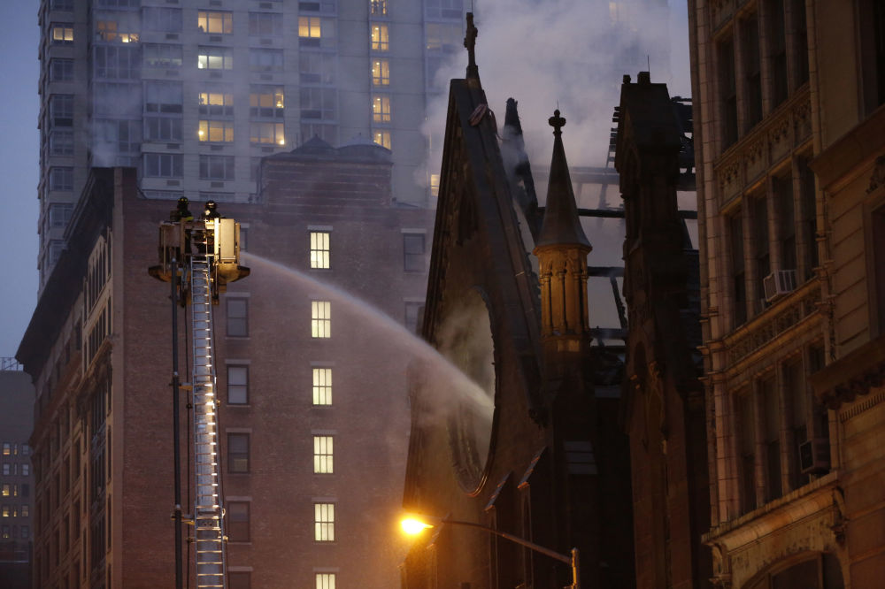 Serbian Orthodox Cathedral of St. Sava on Fire