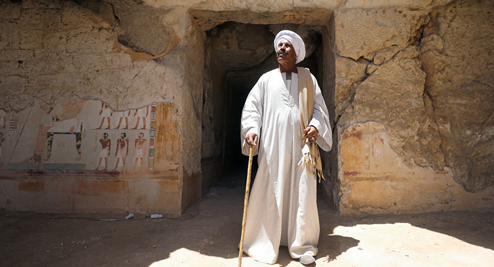 Chief excavation worker Aly Farouk stands outside a newly discovered pharaonic tomb Shedsu Djehuty in Luxor, Egypt April 18, 2019