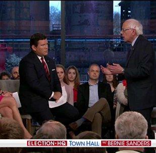 US 2020 Democratic presidential candidate Bernie Sanders speaks on Fox News Monday April 15, 2019
