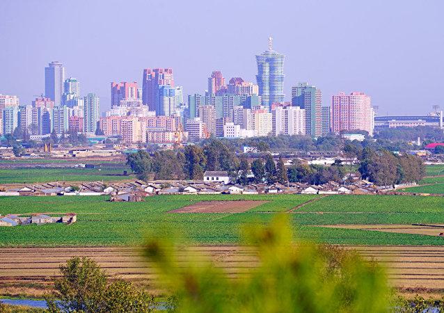 Pyongyang skyline from Mangyongdae hill, DPRK