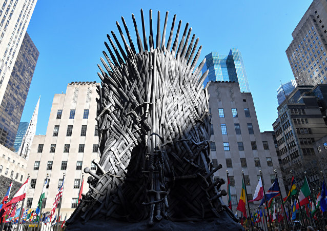 A giant Iron Throne is on display ahead of the Game of Thrones eighth and final season at Radio City Music Hall on April 3, 2019 in New York city