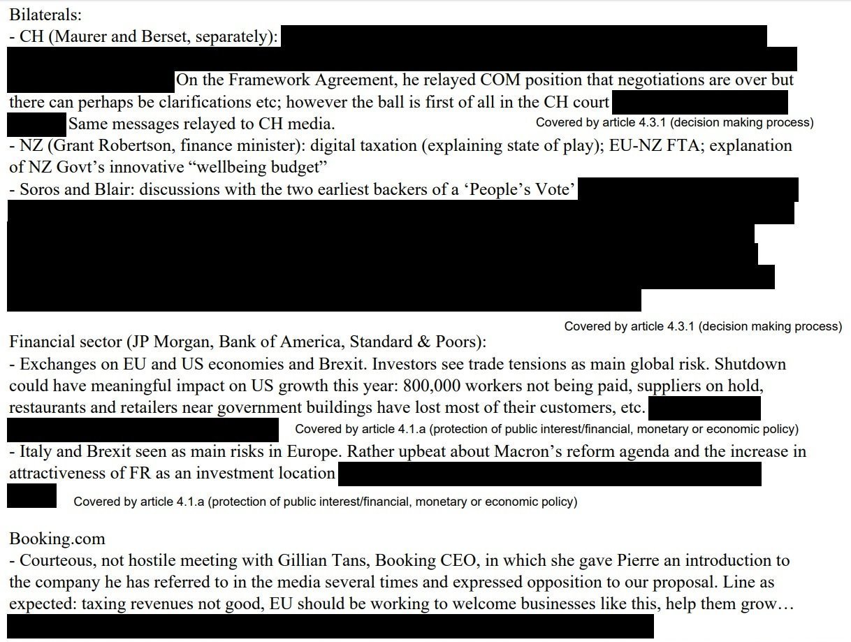 Redacted Portions of Moscovici's WEF Meeting Roundup