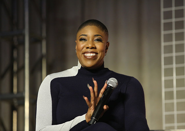 Symone Sanders speaks onstage at Girlboss Rally NYC 2018 at Knockdown Center on November 18, 2018 in Maspeth, New York
