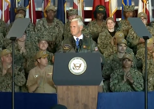 US Vice President Mike Pence delivers remarks, on board USS Harry S. Truman, Naval Station Norfolk (VA), April 30, 2019