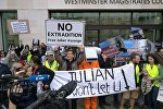 Assange Supporters at London's Westminster Court