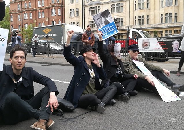 Assange Supporters Block Street at Westminster Magistrate's Cour