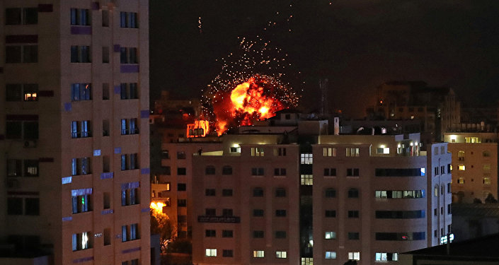 A ball of fire is seen during an Israeli air strike in Gaza City May 4, 2019