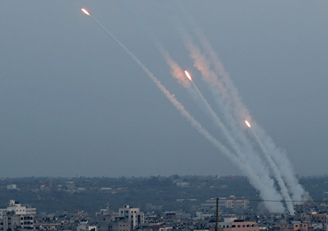 Rockets are fired from Gaza towards Israel, in Gaza May 5, 2019