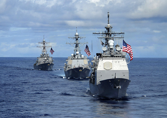 USS Antietam (CG 54) (R), USS Preble(C) (DDG 88) and USS O'Kane (DDG 77), transit in formation 14 August, 2007 during a joint photo exercise (PHOTOEX) concluding Valiant Shield 2007.