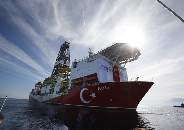 Oct. 30, 2018, Turkey's new drillship 'Conquerer' is seen off the coast of Antalya, southern Turkey