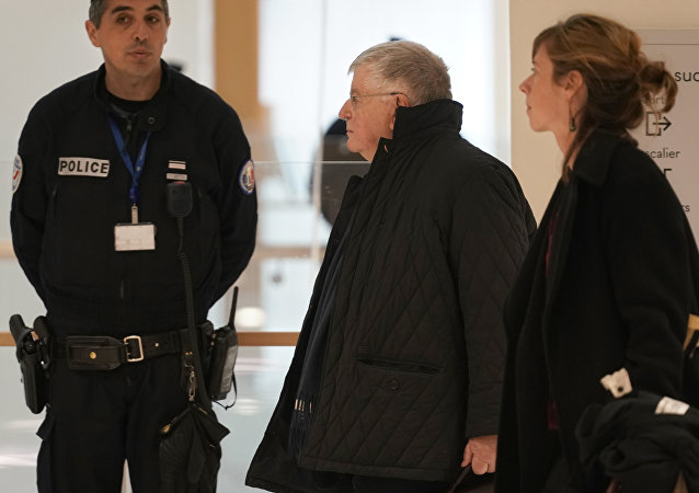 The former CEO of France Telecom, Didier Lombard, arrives at his trial in Paris