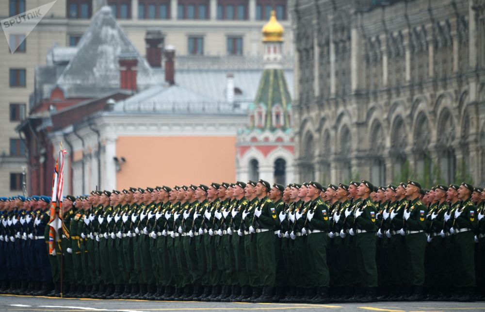 Military Personnel During Victory Day Parade at the Red Square in Moscow