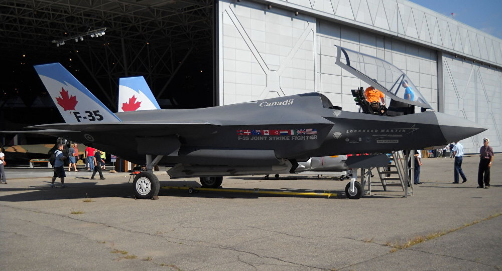 File: A wooden mock-up of the F-35 in Canadian Forces markings