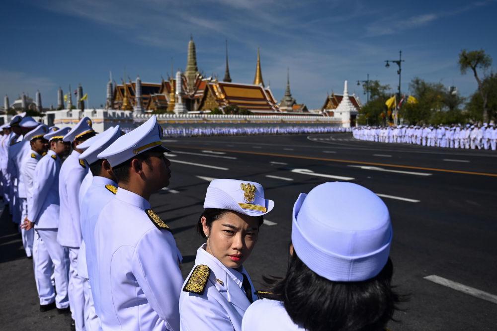 Officials Wait for the Arrival of Thailand's King Maha Vajiralongkorn