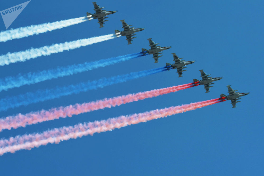 Su-25 Planes During Victory Day Rehearsals in Moscow