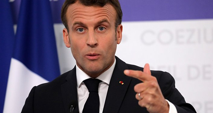 French President Emmanuel Macron speaks during a press conference at the end of an EU summit in Sibiu, central Romania on May 9, 2019. European Union leaders met to set out a course for increased political cooperation in the wake of the impending departure of the United Kingdom from the bloc.