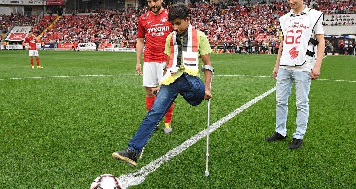 Qassem Qadim attends football match in Moscow