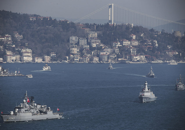 Turkish Navy vessels cross the Bosporus Strait in Istanbul, Saturday, March 9, 2019, upon completion of massive drills by the Turkish Navy entitled Mavi Vatan – the Blue Homeland.
