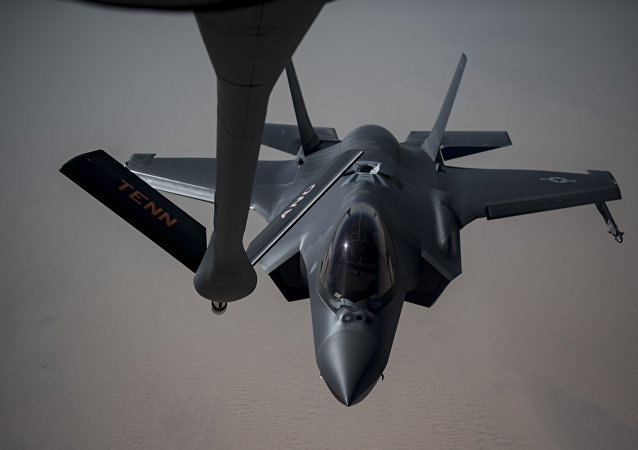 An Airman piloting an F-35A Lightning II receives fuel from a KC-135 Stratotanker from the 28th Expeditionary Aerial Refueling Squadron, May 12, 2019, at an undisclosed location. The 28th EARS maintains constant presence in the U.S. Air Forces Central Command area of responsibility, supporting U.S. and Coalition aircraft in various operations conducted in Iraq, Syria, and Afghanistan.