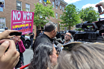 Rev. Jesse Jackson speaks to reporters after an embattled delivery of food, water, and other supplies to the Embassy Protection Collective inside the Venezuelan Embassy in Washington, DC