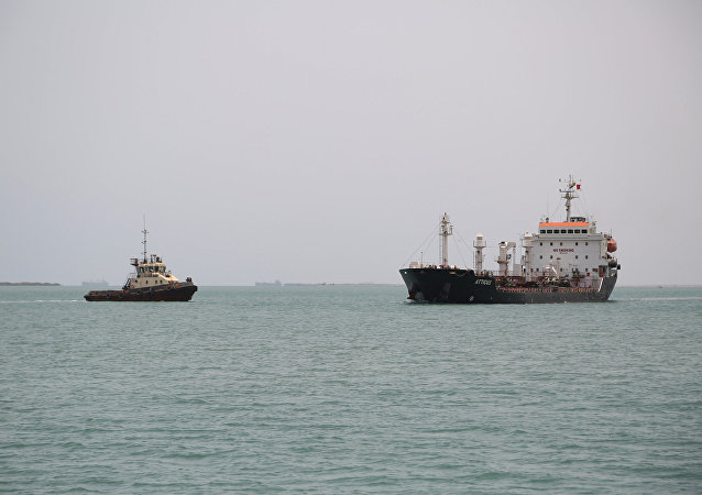 Ships are seen at Saleef port in the western Red Sea Hodeida province