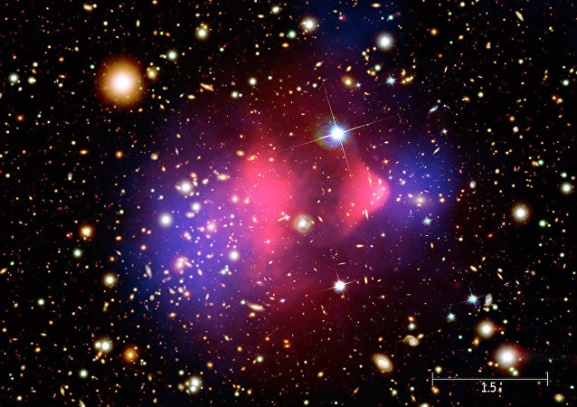 Composite image showing the galaxy cluster 1E 0657-56, better known as bullet cluster