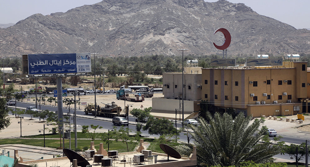 This photo shows an army tank being transported, in the city of Najran, Saudi Arabia, near the border with Yemen, Thursday, April 23, 2015. In a stunning development, Saudi Arabia had declared on Tuesday, April 21, 2015 that it was halting coalition airstrikes targeting Yemen's Shiite rebels known as Houthis — a four-week air campaign meant to halt the rebel power grab and help return to office embattled President Abed Rabbo Mansour Hadi, a close U.S. ally who fled Yemen. (AP Photo/Hasan Jamali)