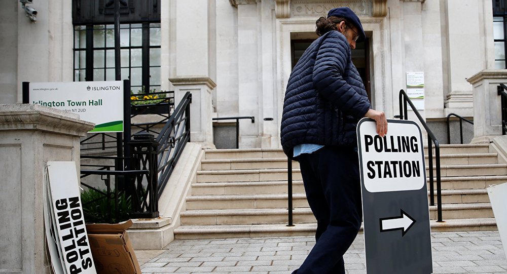 Electoral staff prepare at a polling station for the European elections, taking place despite Brexit uncertainty, at Islington Town Hall, in London, Britain, May 23, 2019