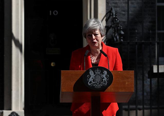 British Prime Theresa May cries as she makes a statement, at Downing Street in London, Britain, May 24, 2019