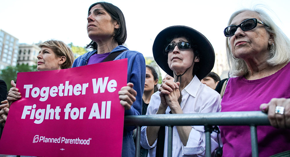 Abortion-rights campaigners attend a rally against new restrictions on abortion passed by legislatures in eight states including Alabama and Georgia, in New York City, U.S., May 21, 2019