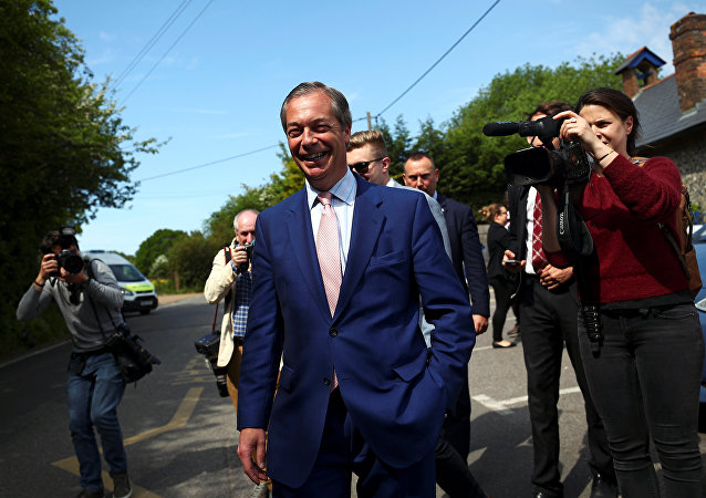 Brexit Party leader Nigel Farage leaves a polling station after voting in the European elections, in Biggin Hill, Britain, 23 May 2019