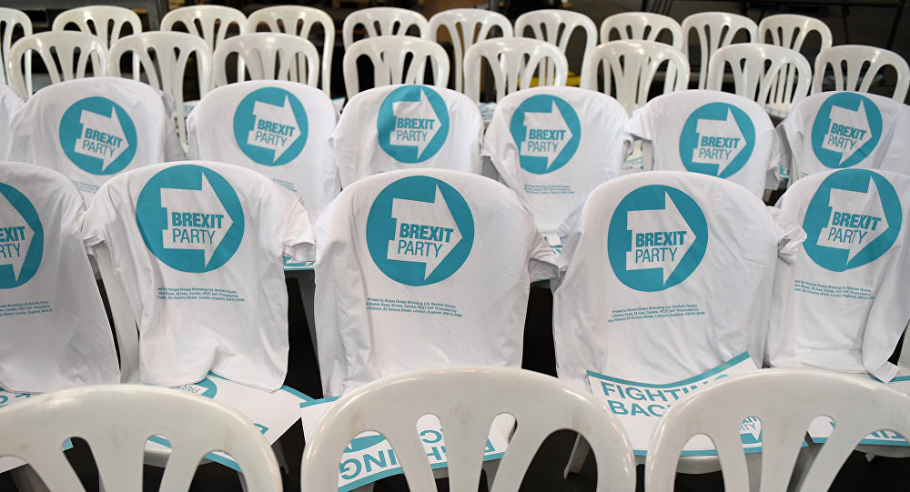 T-shirts featuring the party logo are draped on chairs prior to the launch of The Brexit Party's European Parliament election campaign in Coventry, central England on April 12, 2019