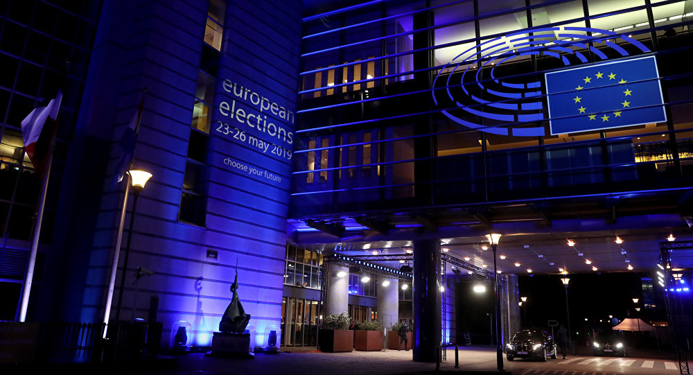 Building of the European Parliament is pictured during the election night for European elections, in Brussels, Belgium, May 26, 2019