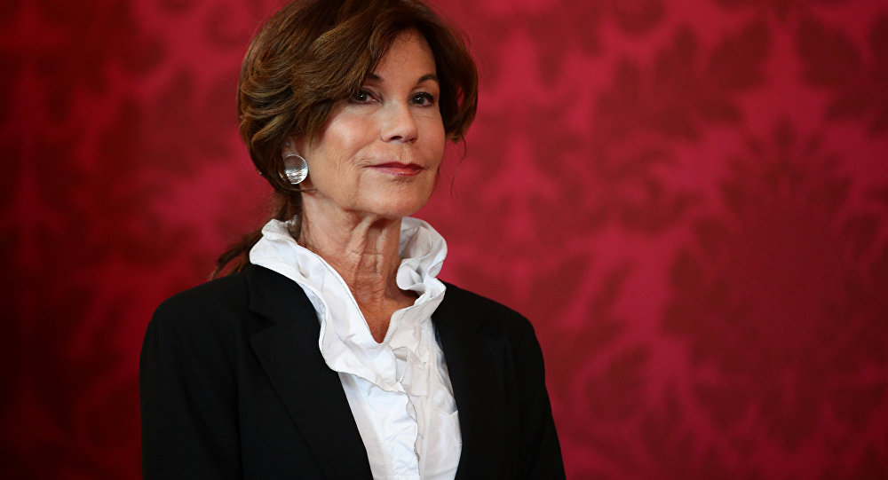 Designated Chancellor Brigitte Bierlein arrives for a news conference in Vienna, Austria, May 30, 2019