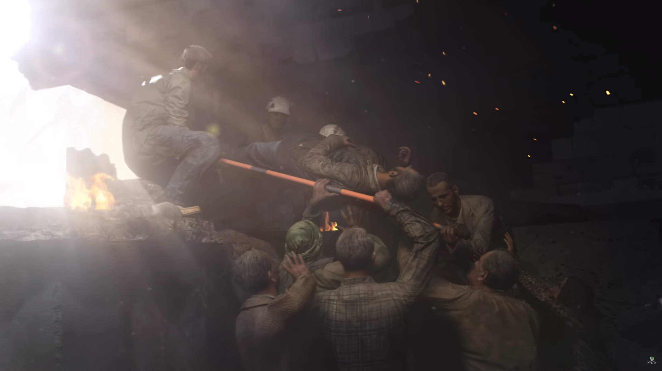 The White Helmets in a Call of Duty: Modern Warfare trailer scene helping victims of a presumed Russian air attack