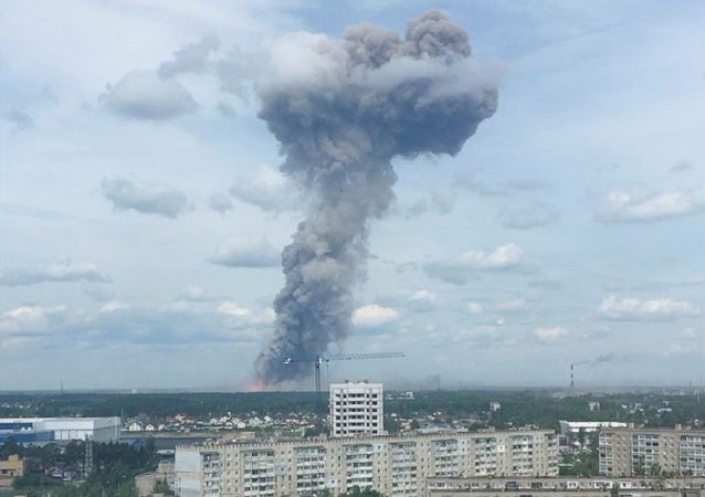 Smoke rising from the site of blasts at an explosives plant in the town of Dzerzhinsk, Nizhny Novgorod Region, Russia