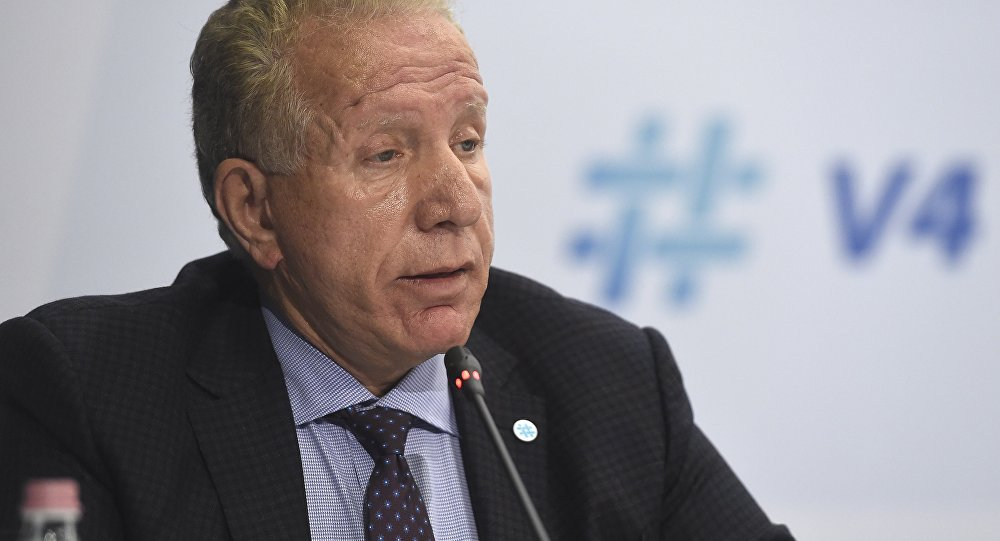 Behgjet Pacolli, Kosovan Foreign Minister speaks during a press conference after the meeting of foreign ministers of the Visegrad Group or V4 countries and Slovenia, Bulgaria and Romania in Budapest, Hungary, Wednesday, Oct. 11, 2017.