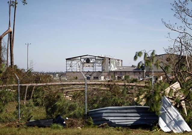 An airplane hanger at Tyndall Air Force Base is damaged from hurricane Michael in Panama City, Fla.