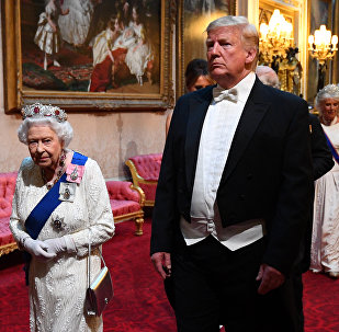 Britain's Queen Elizabeth and U.S. President Donald Trump arrive at the State Banquet at Buckingham Palace in London, Britain June 3, 2019