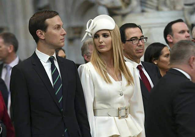 Ivanka Trump and Jared Kushner look on as U.S President Donald Trump places a wreath on the Grave of the Unknown Warrior during a tour of Westminster Abbey in central London, Monday, June 3, 2019. Trump is on a three-day state visit to Britain