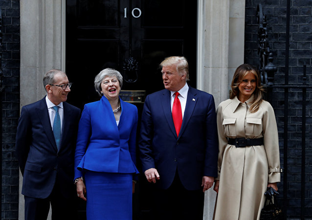 U.S. President Donald Trump and First Lady Melania Trump meet Britain's Prime Minister Theresa May and her husband Philip at Downing Street as part of his state visit in London, Britain, June 4, 2019