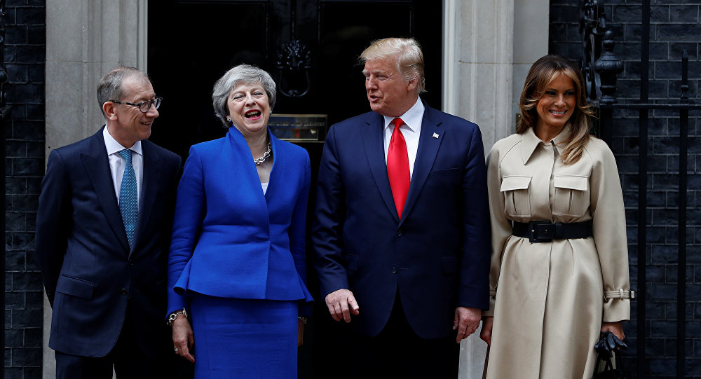 US President Donald Trump and First Lady Melania Trump meet Britain's Prime Minister Theresa May and her husband Philip at Downing Street as part of his state visit in London, Britain, June 4, 2019
