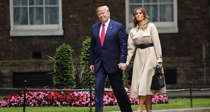 President Donald Trump and first lady Melania arrive in Downing Street in central London, Tuesday, June 4, 2019