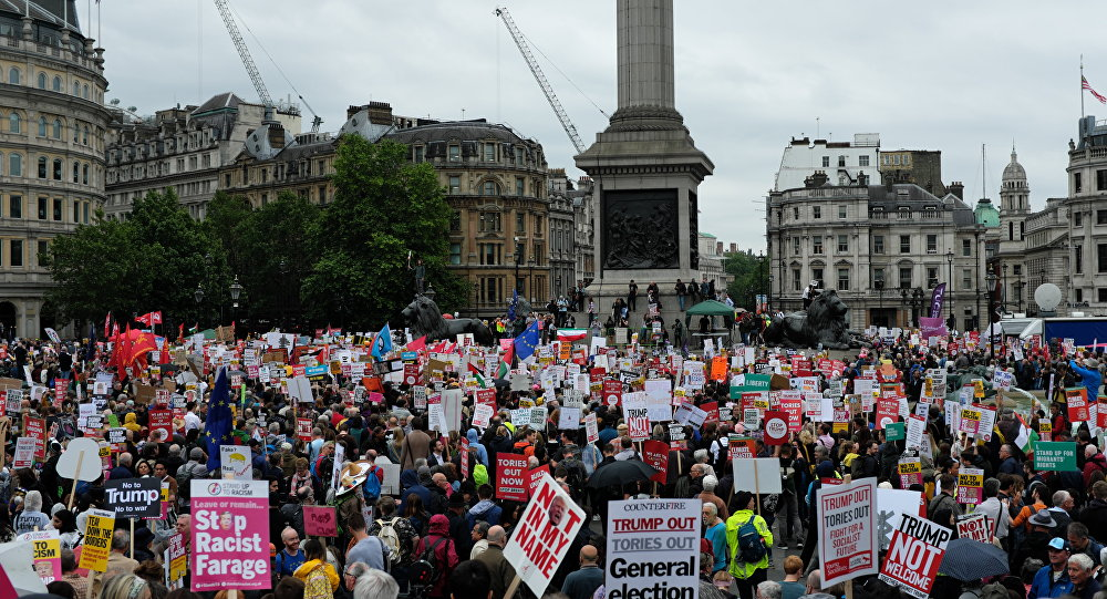 Anti-Trump Protesters Gather in London