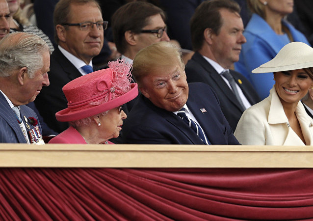 Britain's Prince Charles, Queen Elizabeth II, President Donald Trump and first lady Melania Trump, from left, attend an event to mark the 75th anniversary of D-Day in Portsmouth, England Wednesday, June 5, 2019
