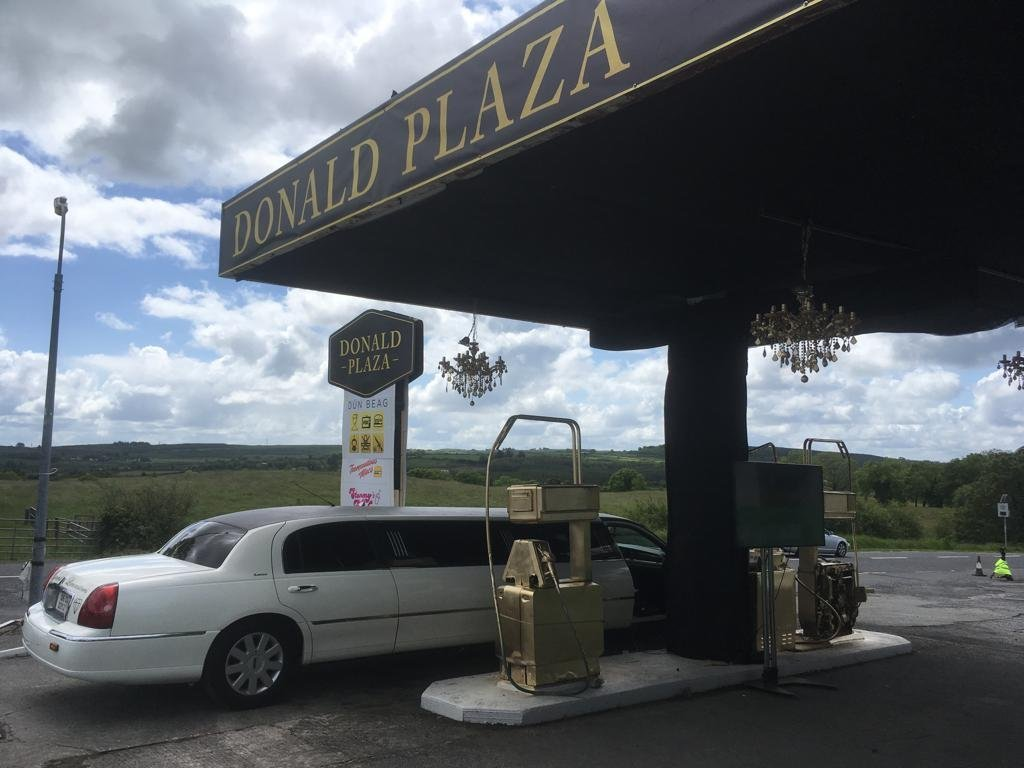 A gourmet petrol station along the route to Trump's resort is 'Donald Plaza'