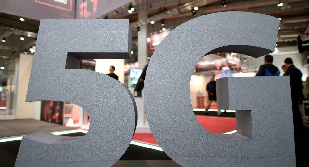 A logo of the upcoming mobile standard 5G is pictured at the Hanover trade fair, in Hanover, Germany March 31, 2019.