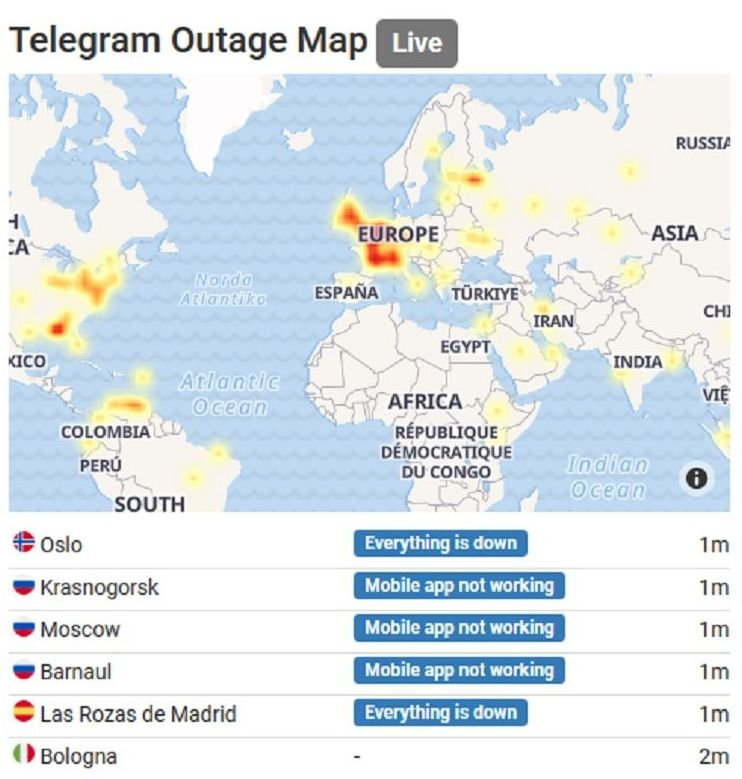 Telegram outage map