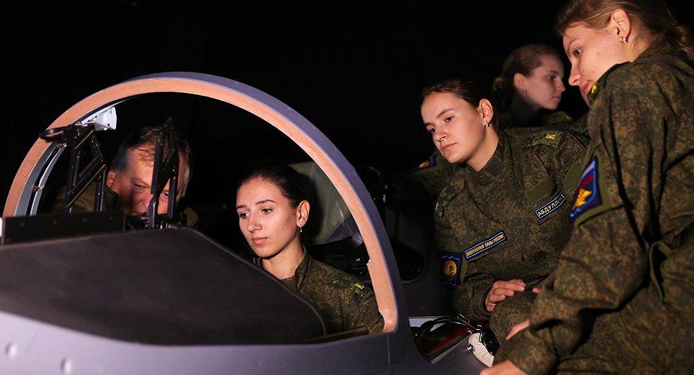 Female trainees at the Krasnodar aviation school.